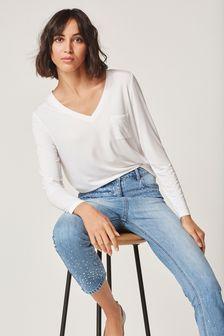 Premium V-Neck Long Sleeve Top