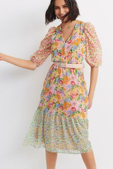 V-Neck Belted Dress