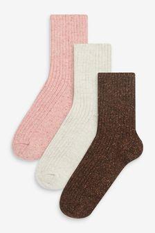 Wool Blend Ribbed Ankle Socks 3 Pack