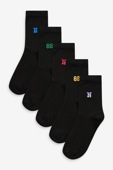 Embroidered Motif Ankle Socks 5 Pack