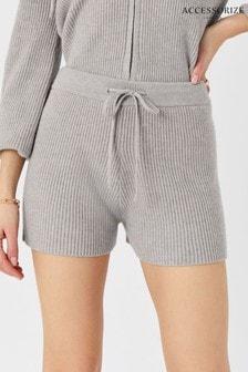 Accessorize Grey Knit Rib Lounge Shorts