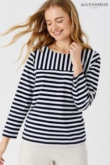 Accessorize Blue Stripe Boat Neck T-Shirt