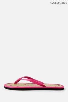 Accessorize Pink Spot Seagrass Flip Flops