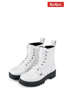 Kickers White Kizziie Higher Boots