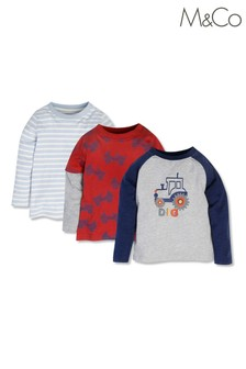 M&Co Younger Boys Tops 3 Pack