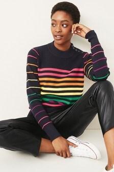 Stripe Button Shoulder knitted Jumper