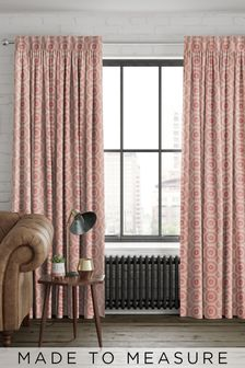 Red Geo Tiles Made To Measure Curtains