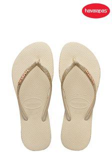 Havaianas Natural Slim Sparkle Flip Flops