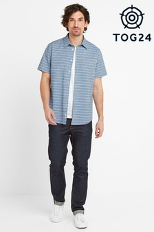 Tog 24 Blue Drexel Mens Stripe Short Sleeve Shirt