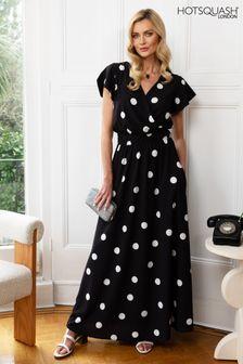 HotSquash Black Chiffon Wrap Top Maxi Dress