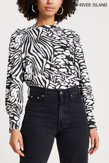 River Island Black Animal Puff Sleeve Tie Back Top