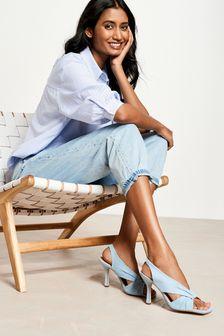 Signature Leather Twist Detail Sandals