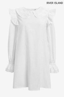 River Island White Broderie Collar Dress