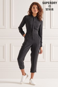 Superdry Cupro Long Sleeved Shirt Jumpsuit