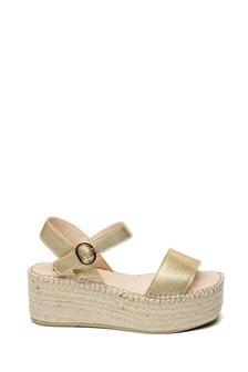 Steven NY Gold Joela Wedge Sandals