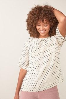 Woven Polka Dot Short Sleeve Blouse