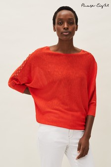 Phase Eight Red Talia Lace Trim Linen Blend Top