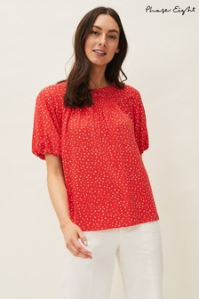Phase Eight Red Mia Ditsy Print Top