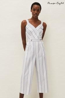 Phase Eight White Naomi Stripe Jumpsuit