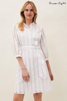 Phase Eight White Caela Broderie Shirt Dress