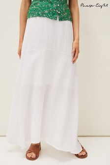 Phase Eight White Phoebe Faux Wrap Linen Skirt