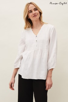 Phase Eight White Brianne Linen Pintuck Blouse