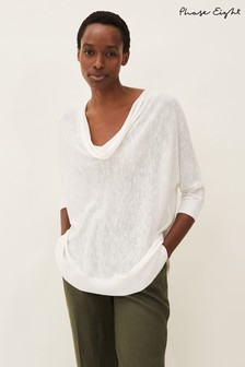 Phase Eight White Clare Linen Blend Cowl Neck Jumper