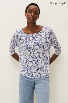 Phase Eight White Catrina Linen Floral Top