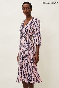 Phase Eight Pink Jean Floral Midi Wrap Dress