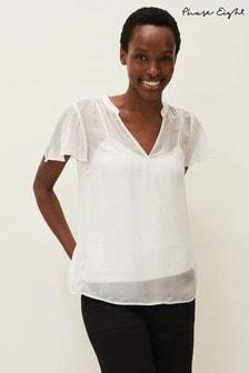 Phase Eight White Naya Short Sleeved Silk Mix Top