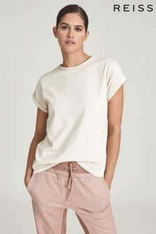Reiss Camel Tereza Cotton Jersey T-Shirt