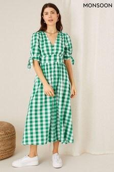 Monsoon Anima Gingham Print Dress
