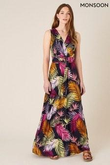 Monsoon Arni Palm Print Jersey Maxi Dress