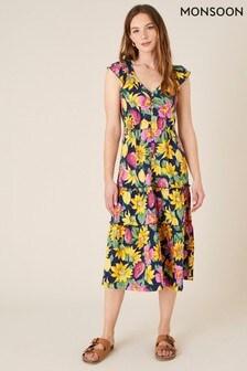 Monsoon Floral Print Jersey Midi Dress