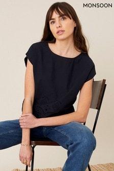 Monsoon Organic Cotton Lila Woven Front T-Shirt