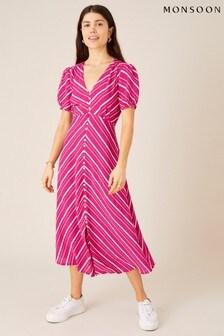 Monsoon Narla Stripe Print Midi Dress