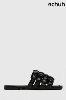 Schuh Black Tilde Weave Square Toe Sandals