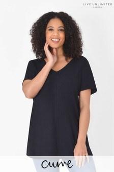 Live Unlimited Curve Black Longline Cotton T-Shirt