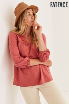 FatFace Pink Bryony Woven Mix Top