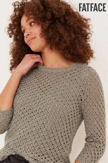 FatFace Green Chloe Crochet Jumper