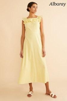 Albaray Yellow Embroidered Ruffle Neck Dress