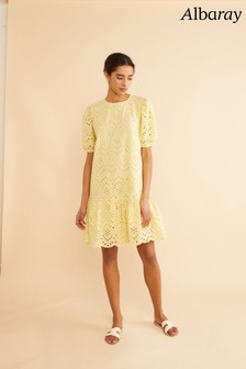 Albaray Yellow Embroidered Short Dress