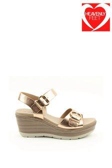 Heavenly Feet Juniper Ladies Rose Gold Wedge Sandals