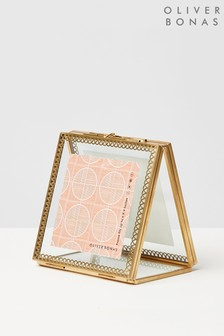 Oliver Bonas Gold And Glass Lace Double Picture Frame