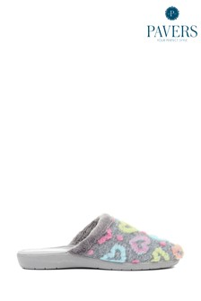 Pavers Ladies Colourful Heart Mule Slippers