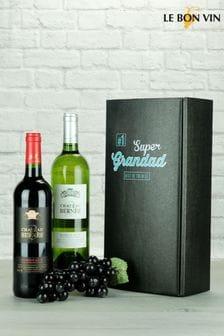 Super Grandad Bordeaux Twin Wine Gift by Le Bon Vin