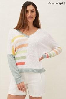 Phase Eight White Shisui Stripe Linen Blend Top
