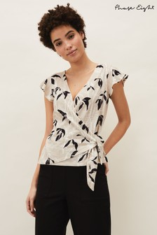 Phase Eight Neutral Keeley Floral Wrap Top