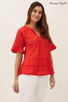Phase Eight Red Amy Lace Swing Top
