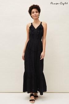 Phase Eight Black Tallie Broderie Maxi Dress